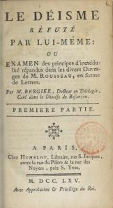 Bergier, Le Déisme réfuté par lui-même (Paris, 1765), page de titre.