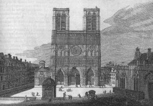 Le parvis et la façade de Notre-Dame de Paris